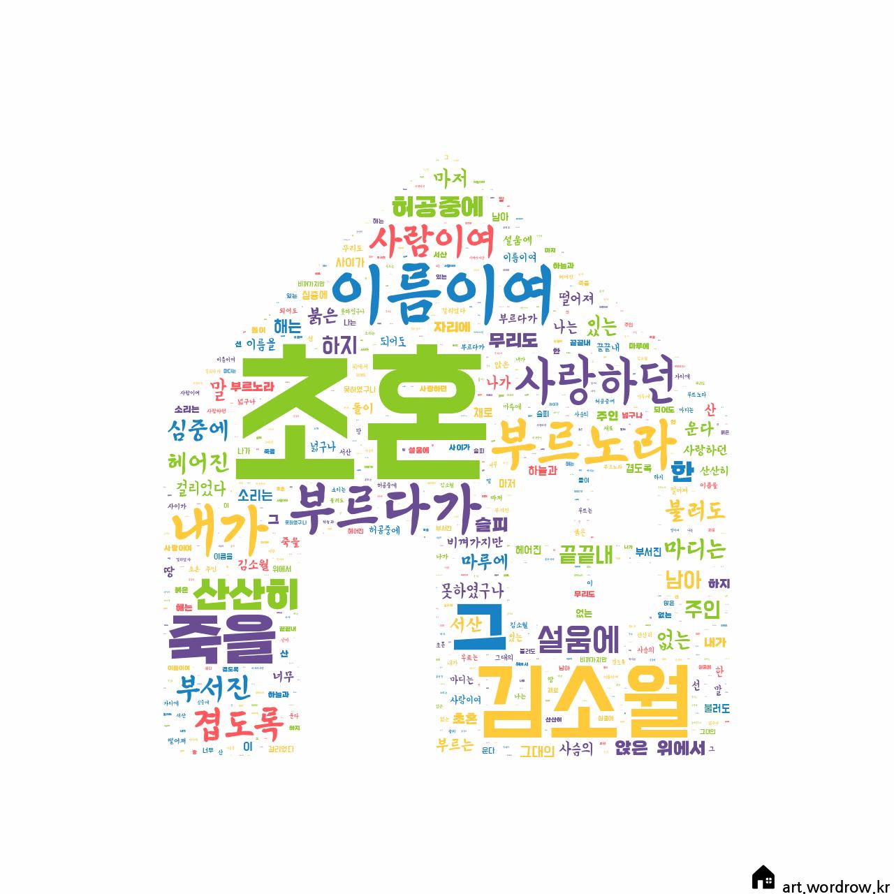 워드 클라우드: 초혼 [김소월]-59